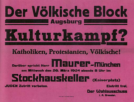 Plakat Kulturkampf des »Völkischen Blocks«, 1924